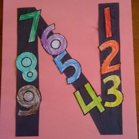 Letter N craft - Cut out numbers to paste on a N