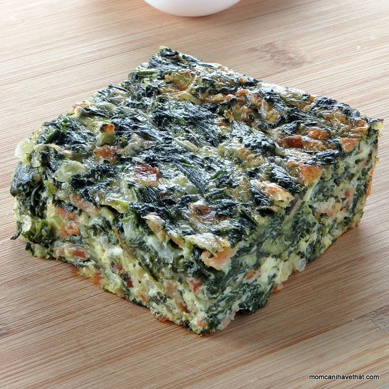 Spinach, Bacon & Onion Crustless Quiche is a great for Atkins Induction at 3 NC per serving | low carb, gluten-free, keto |