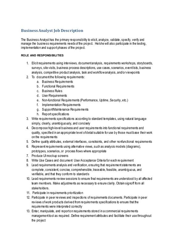 Business Analyst Job Description The Business Analysthas The Primary Responsibility To Elicit Analyze Business Analyst Business Analyst Resume Job Description