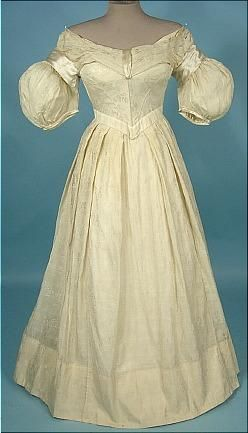 Circa 1837-1840 Cream Silk and Linen Wedding or Evening Gown with Satin Trim.