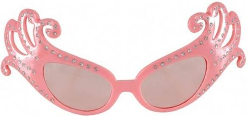 Flashy Dame Edna Pink Glasses - Be fabulous and outrageous in these officially licensed Dame Edna glasses. These are an identical replica of the glasses worn by the famous British comedian. The frames have a cat eye design, which branches into curled extensions from the outer edges of the glasses. Silver dots of glitter run the lengths of the curls and travel down half of the frames. A tiny cursive letter E is mounted on the side of the arms. #yyc #glasses #costume