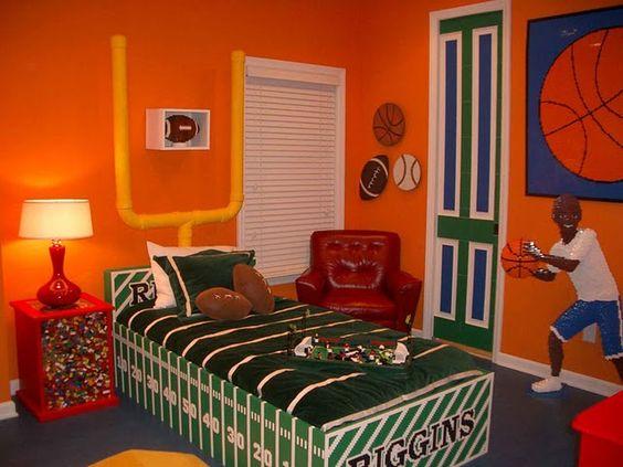 Sports theme room cute field goal headboard kid teen for Football themed bedroom ideas