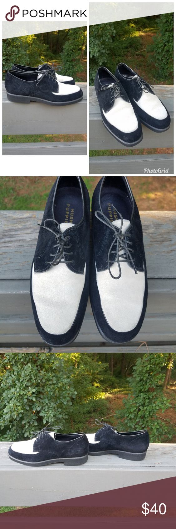 Hush Puppies Black And White Suede Shoes Lace Up Black And White