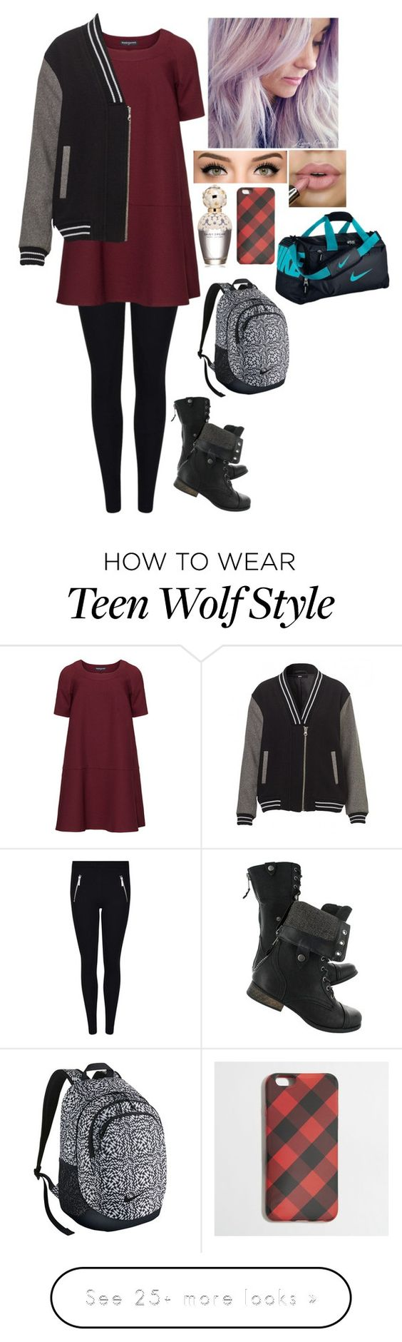 """""""Alice Stilinski (Teen Wolf FF)"""" by myanoelle on Polyvore featuring Manon Baptiste, Marc Jacobs, J.Crew, NIKE and plus size dresses"""