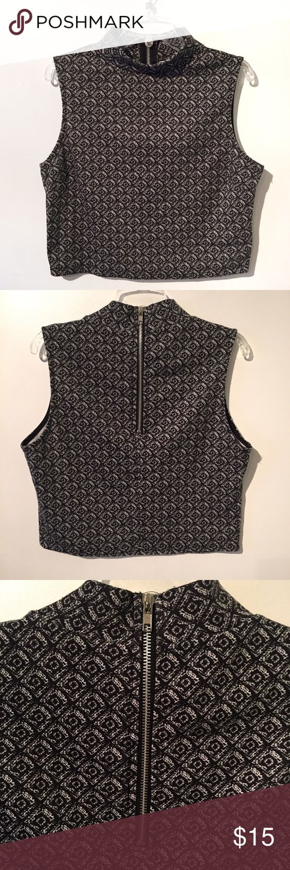 Turtle neck sleeveless printed crop top Diamond print crop top with high neck. Worn once. Small zipper in back. Perfect like new condition Urban Outfitters Tops Crop Tops