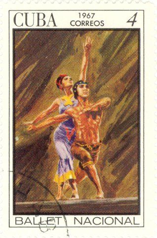 Postage stamp featuring a painted scene from the ballet Calaucan, Cuba, 1967, by Administración Postal de Cuba.