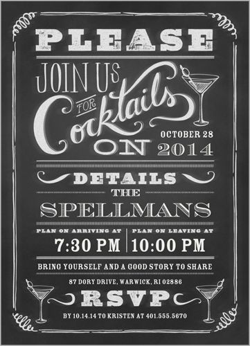 Chalkboard Cocktails Summer Invitation  Christmas Parties You