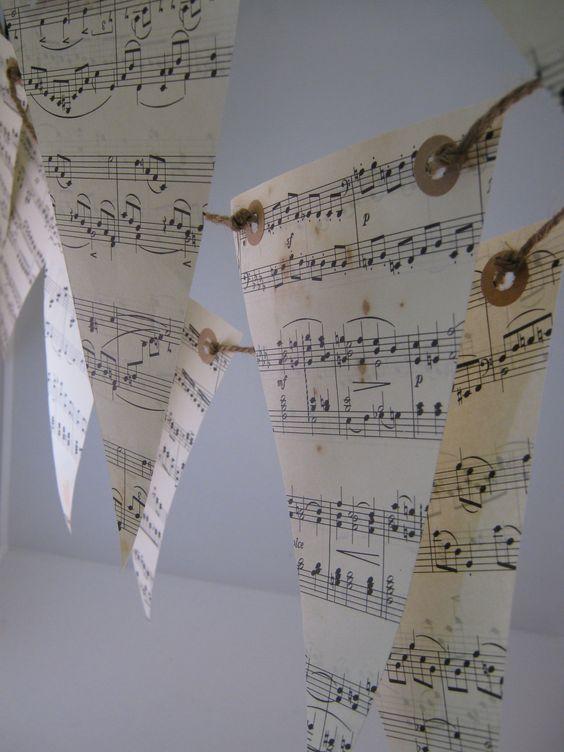 Musical Notes Love Songs Paper Bunting Garland 2 Meters. $6.00, via Etsy.