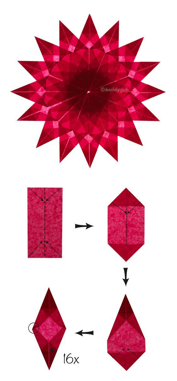 bastelanleitung f r einen weihnachtsstern nachdem die 16 ecken fertig sind m ssen sie nur. Black Bedroom Furniture Sets. Home Design Ideas
