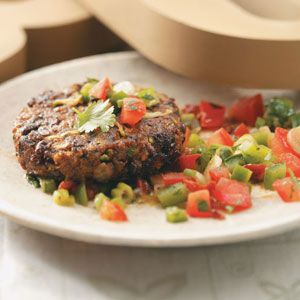 Black Bean Cakes with Mole Salsa. Make this recipe vegan by using substituting out the egg.