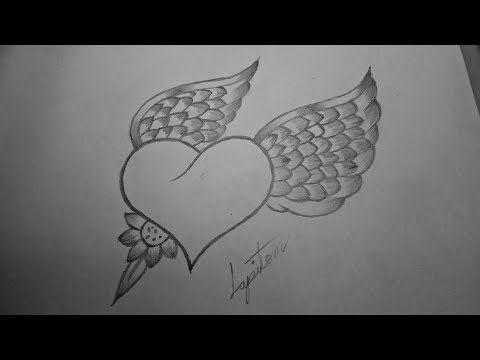 Como Dibujar Un Corazon Con Alas De Angel A Lapiz Paso A Paso