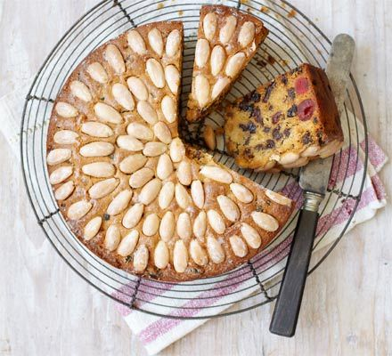 Dundee cake   A famous traditional Scottish fruitcake with cherries, sultanas and almonds, and a sweet glaze