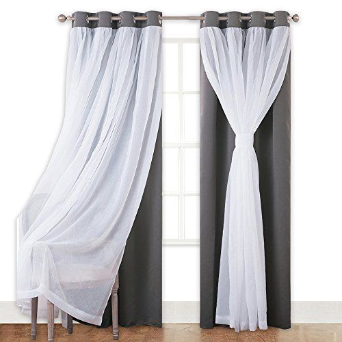 Cheap Pony Dance Blackout Curtains With Sheer Drapes Mix Match Voile Tulle Grommet Top Window Treatments Home Decoration For Girls Bedroom 52 W X 63 L Curtains Living Room Curtains Blackout Curtains