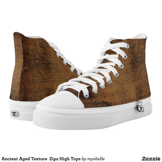 Ancient Aged Texture  Zipz High Tops Printed Shoes A design in hues of a brown aged rustic look. Design features old style antique text  Great for those who favour the grunge look. # grunge #rustic