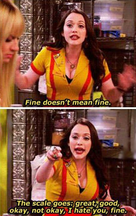 Fine DOES NOT mean fine! Lol.