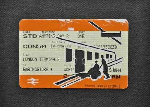 "Please Mind The Gap: When Using The Wheelchair Ramp    Cut Out Train tickets on canvas  2011   5""x 4""    £90 including frame"