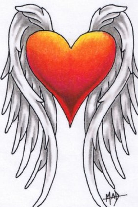 Red and orange heart with clear wings tangle your head for Gilded heart tattoo
