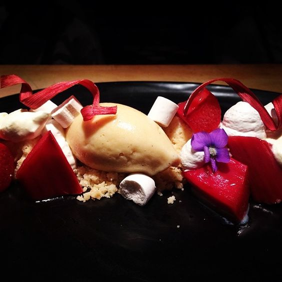 NewTopolo dessert: deconstructed rhubarb tres leches cake with rosita de cacao ice cream.