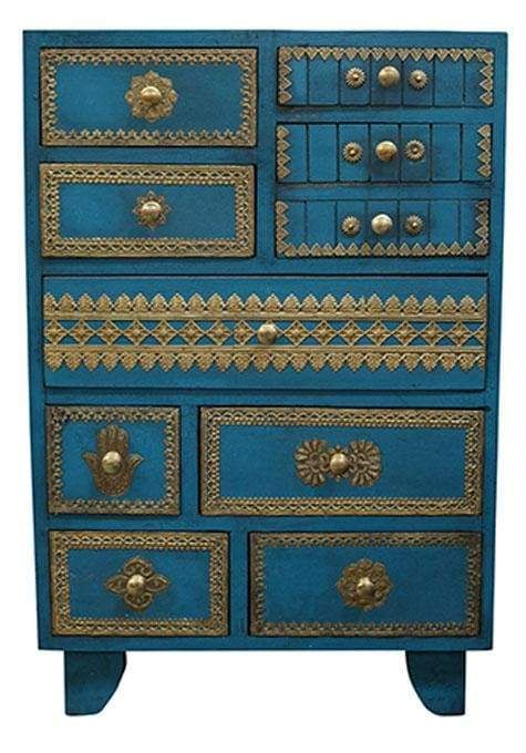 Enjoy Furnishing Your Home With Fine Materials Wrought In Intriguing Expert Fashion The Brass Fitted Drawers Are Inspired Blue Drawers Drawers Set Of Drawers