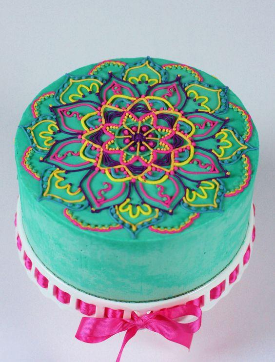 Mehndi Cake Tutorial : Buttercream mandala on cake central tortas pinterest