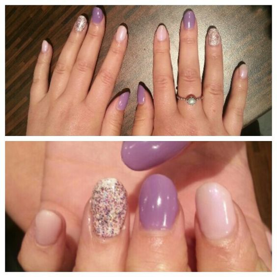 Shellac, purple pink and glitter ring finger