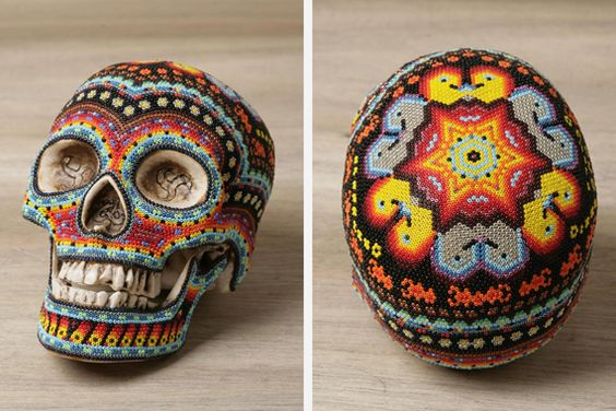 Mexican Huichol beaded skulls- each bead is glued individually!
