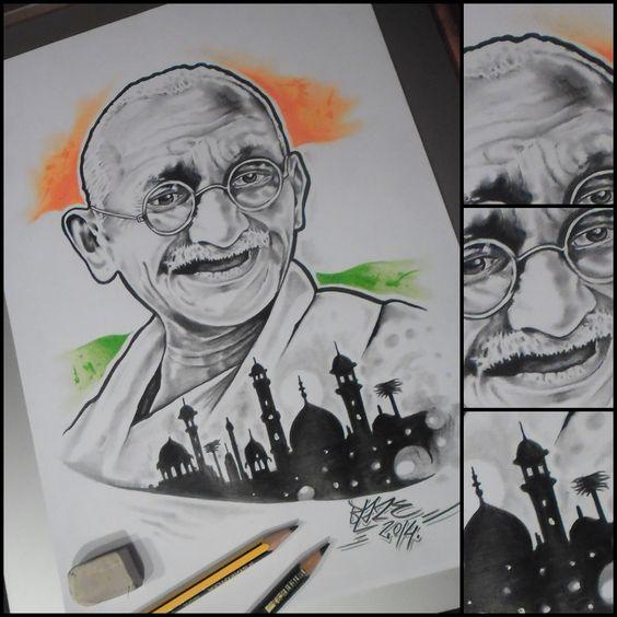 how to draw mahatma gandhi easily