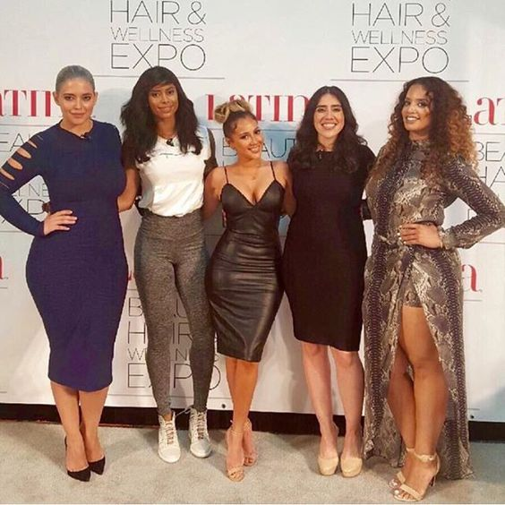 SheaMoisture at the Latina Magazine Beauty & Wellness Expo! Pictured: #TheReal host #AdrienneBailon and celebrity fitness guru #MassyArias with actress #DaschaPolanco, #DeniseBidot, and #LatinaMagazine Director of Content, Shirley Velasquez.