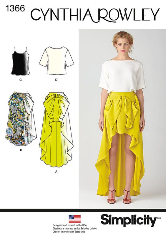 make a statement with this cynthia rowley high low cascading bow skirt in two   lengths. pattern also includes tank with spaghetti straps and loose fitting short sleeve top. cynthia rowley pattern   collection.