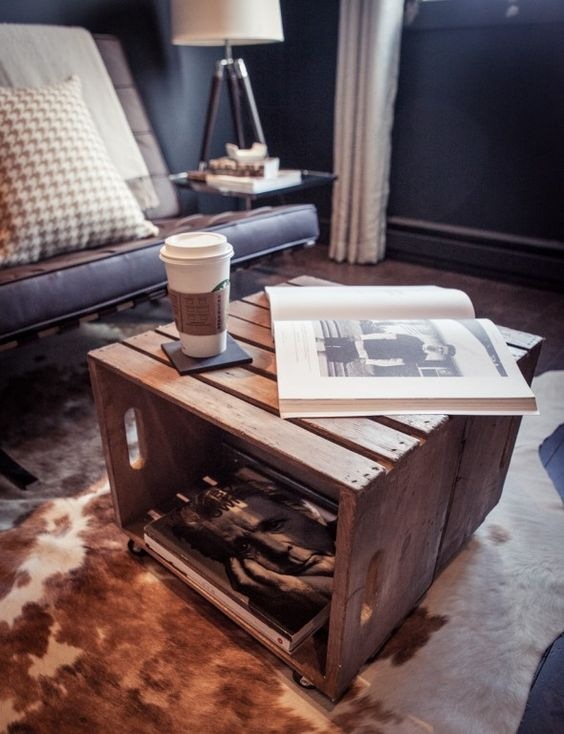 diy crate table two crates back to back staple with. Black Bedroom Furniture Sets. Home Design Ideas