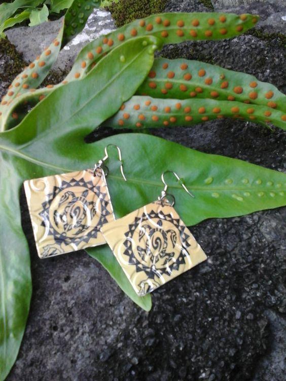 hawaiian earrings Soda can jewelry Hawaiian earrings by Soda2Art