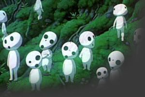 Kodama  Tree spirits who inhabit the woods of the Forest Spirit. There are thousands of kodama in the forest. They can disappear and reappear at will, it seems. They are harmless and friendly, although some people find them intimidating. They are a sign that the forest is healthy. They have a great reverence for the Forest Spirit.