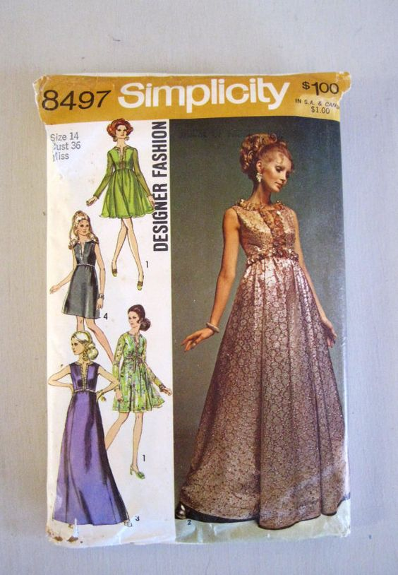 1960s Evening Dress Pattern Bust 36 Simplicity 8497 Misses Size 14 ...