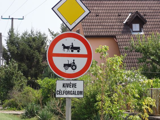 Sign along the road in Hungary