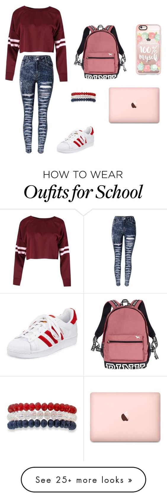 """Pink day to school"" by baekhyunie on Polyvore featuring adidas, Victoria's Secret, Kim Rogers and Casetify"