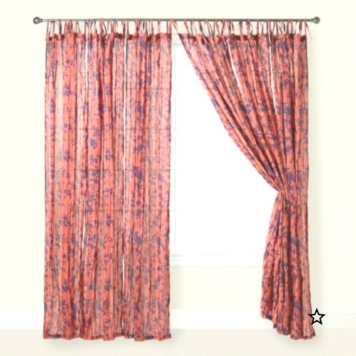 Burgundy Sheer Voile Valance WIndow Curtain 54 in X 24 in Scalloped Ribbon  Edge