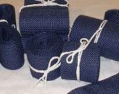 Skinny Navy Burlap Ribbon  - 1 inch x 3  yards