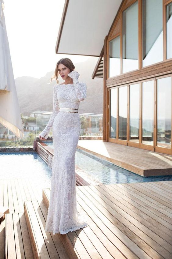 Wholesale Mermaid Wedding Dresses - Buy 2014 Julie Vino Vestidos De Novia Cindy Bateau Long Sleeve Scallop Lace Edge Wedding Dresses Gold Belt Pearls 2014 Bridal Gowns,