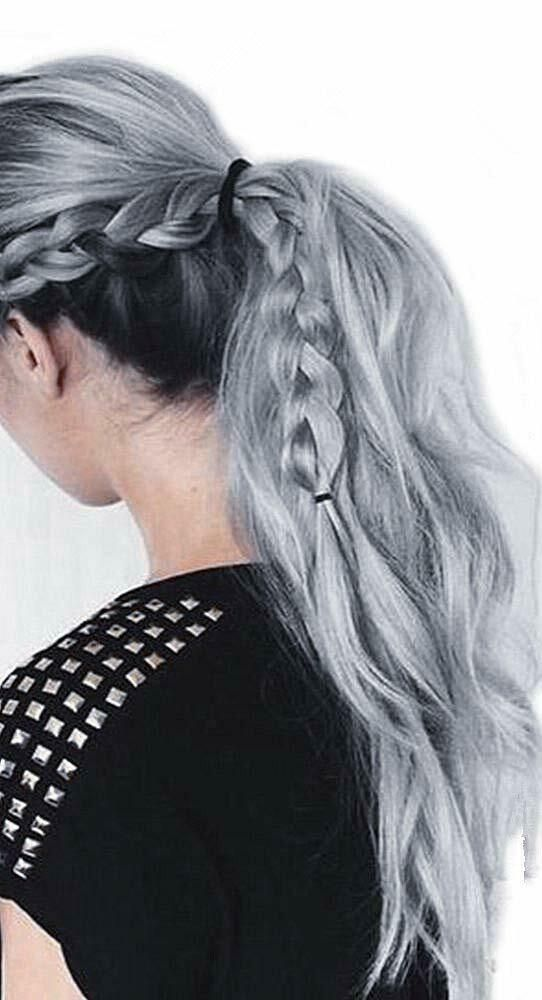 Ugeat Remy Human Hair Wrap Around Ponytail Hair Extensions Black to Silver 80g