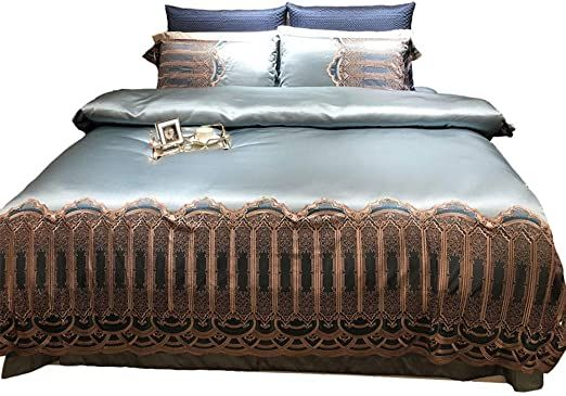 Nordic High Grade Cotton Substantial Light Blue Color Satin Embroidered Brown Lace Bedding Quaternion Simple Quilt Bed L Lace Bedding Hotel Style Quilt Bedding