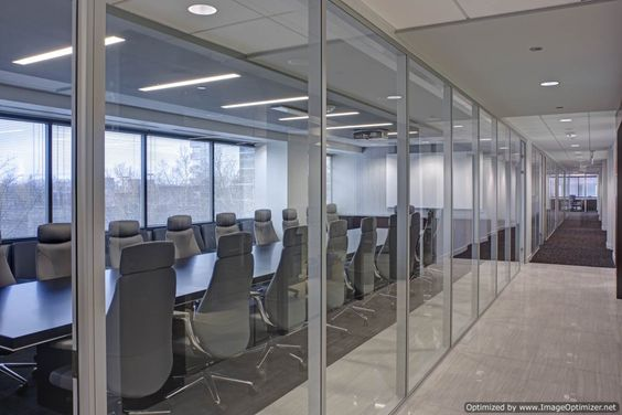 Frameless glass demountable wall system by dynamic hive Opening glass walls