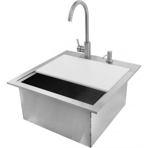 Bbqguys Sonoma Series 21 Inch Outdoor Rated Stainless Steel Drop In Sink With Hot Cold Faucet Bbqguys In 2020 Outdoor Kitchen Outdoor Kitchen Sink Outdoor Sinks