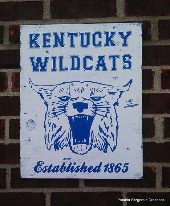 University Of Kentucky Man Cave Ideas : Vintage university of kentucky logo painted wood