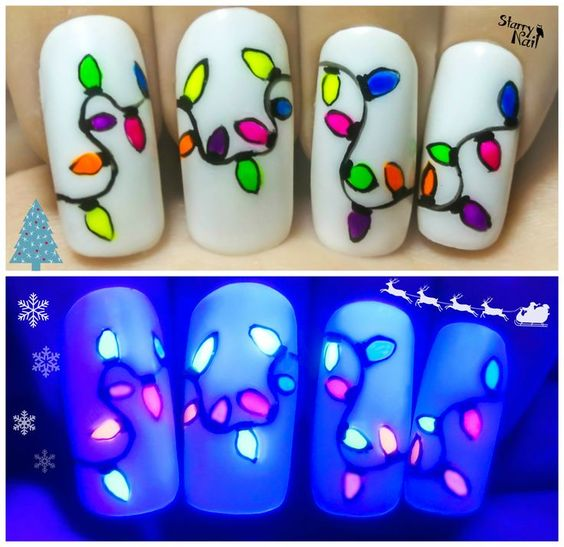 Easy Christmas Lights ⎮ Glow in the Dark Freehand Nail Art Tutorial for Beginners Nail Design, Nail Art, Nail Salon, Irvine, Newport Beach: