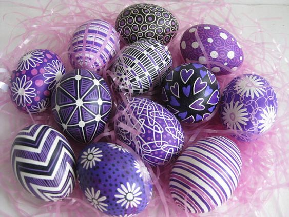 Easter Egg set of 6 chicken eggs in Black and Purple hues