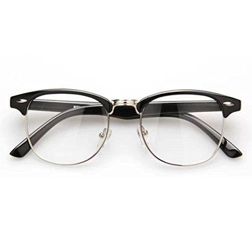 9502afca6a Happy Store CN56-Vintage Inspired Classic Clubmaster Nerd Wayfarers Clear  Lens Half Frame Glasses(