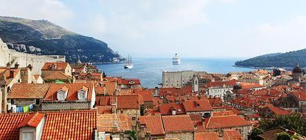 Bright red rooftops in Dubrovnik, Croatia.
