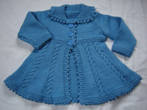Baby Girl Toddler Sweater Coat Swing Style Hand Knit Crochet Size