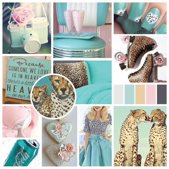 moodboard, turquoise, rose pink, cheetah, cheetah print.