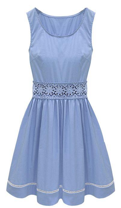 Blue Sleeveless Crochet Lace Embellished Waist Skater Dress - Sheinside.com. This is lovely.